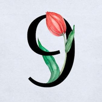 Carattere tipografico serif dell'annata del carattere numero 9 di vettore