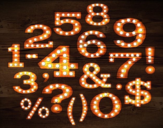Vector of numbers and symbols in retro style