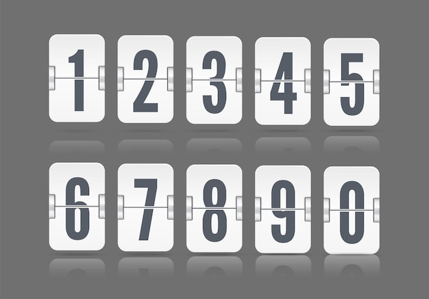 Vector numeric flip scoreboard set with reflection floating on different height for white countdown timer or web page watch or calendar isolated on dark background