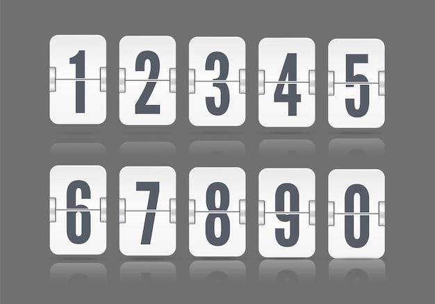 白いカウントダウンタイマーまたはwebページの時計または暗い背景で隔離のカレンダーの異なる高さに浮かぶ反射で設定されたベクトル数値フリップスコアボード