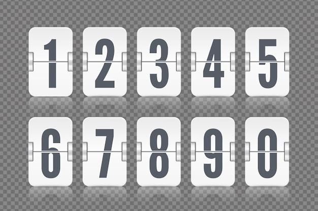 白いカウントダウンタイマーまたはウェブページの時計または灰色で分離されたカレンダーの反射で設定されたベクトル数値フリップスコアボード