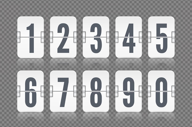 Vector numeric flip scoreboard set with reflection for white countdown timer or web page watch or calendar isolated on gray