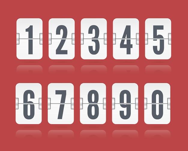 白いカウントダウンタイマーまたはウェブページの時計または赤い背景で隔離のカレンダーのために浮かぶ反射で設定されたベクトル数値フリップスコアボード