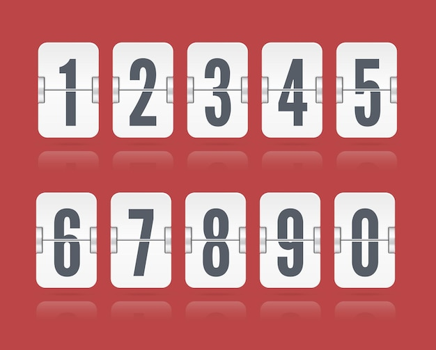 Vector numeric flip scoreboard set with reflections floating for white countdown timer or web page watch or calendar isolated on red background