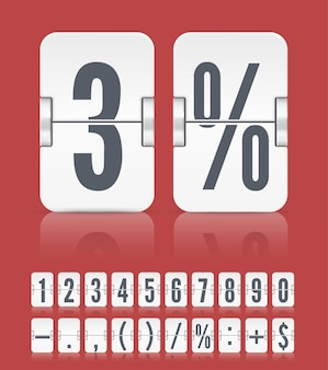 Vector numeric flip scoreboard with symbols and reflections for white countdown timer or web page watch or calendar isolated on red