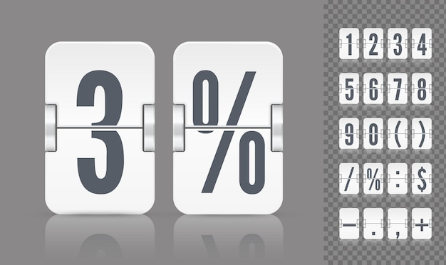 Vector numeric template for your design. set of flip scoreboard with reflections including numbers and symbols for white countdown timer or calendar on gray background.
