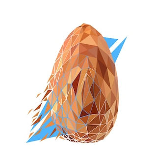 Vector nut in low poly style. digital art