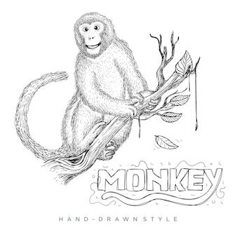 木の幹に座っている猿のベクトル。手描き動物イラスト
