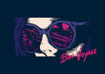 ボン・ボヤージという言葉の眼鏡をかけた人のベクトル