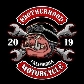 Вектор байкер свинья или боров для логотипа мотоклуба