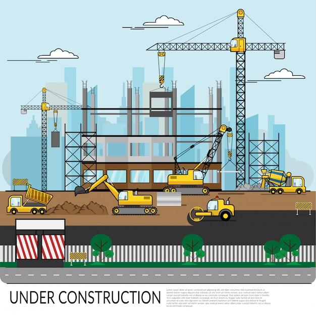 労働者と忙しい工事現場のベクトル