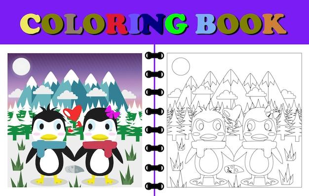 겨울에 크리스마스 커플 펭귄이 있는 색칠하기 책 또는 페이지의 벡터