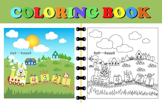 電車を遊んで面白い動物漫画と塗り絵やページのベクトル