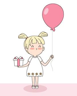 Вектор милой девушки с подарочной коробкой и воздушным шаром. концепция валентина. eps 10 вектор