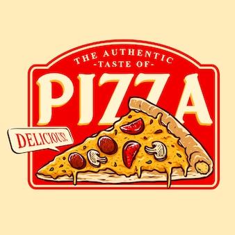 おいしいピザのロゴのバッジのベクトル
