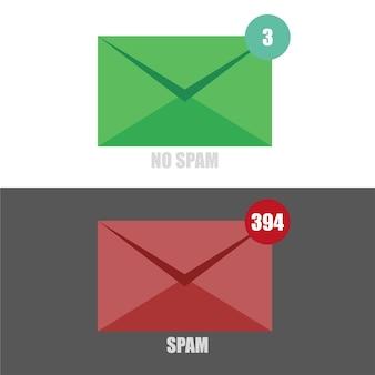 Вектор электронного спама без спама с красным и зеленым конвертом на черно-белом фоне