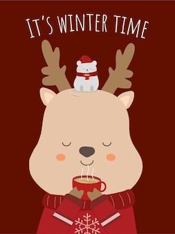 사슴 마시는 커피와 그의 머리에 쥐와 함께 마지막 겨울의 벡터