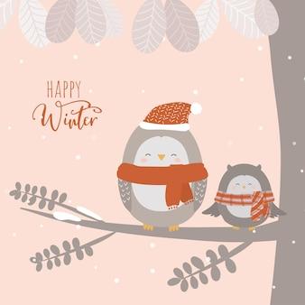 Вектор последней зимы с совой, сидящей на ветке