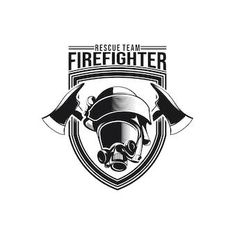 消防士のロゴのデザインのベクトル