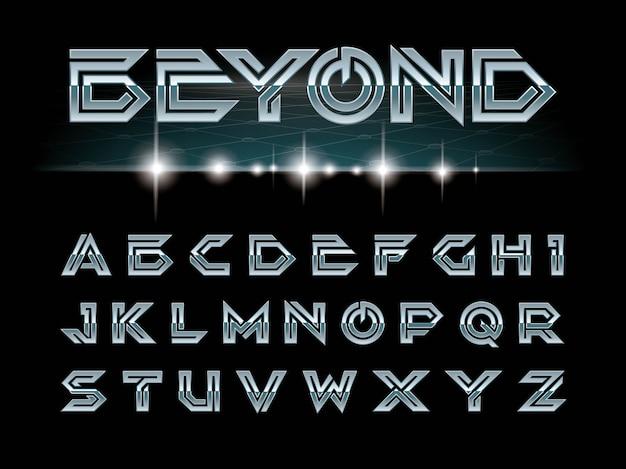 미래의 글꼴 및 알파벳, 공상 과학, 군사에 대 한 설정하는 편지의 벡터