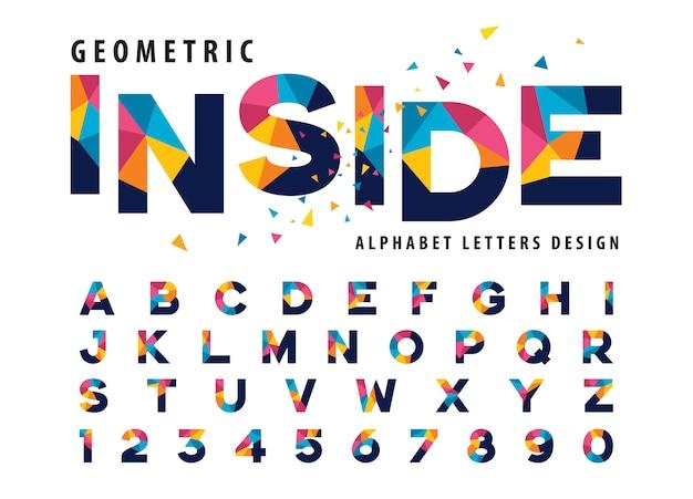 기하학적 알파벳 문자, 화려한 삼각형 문자 벡터