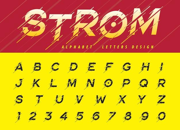 글리치 현대 알파벳 문자, 이동 폭풍 양식 된 글꼴의 벡터