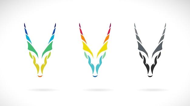 ヤギの頭または白い背景の野生動物のゴラルデザインのベクトル