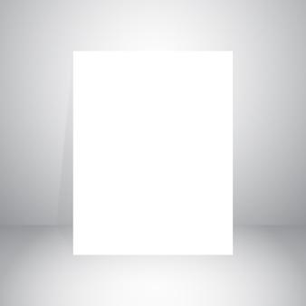 白い紙と灰色の空のスタジオの部屋の背景のベクトル