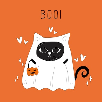 Vector of Halloween ghost cat and pumpkins doodle.