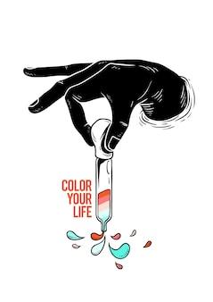 Вектор руки с краской пипеткой