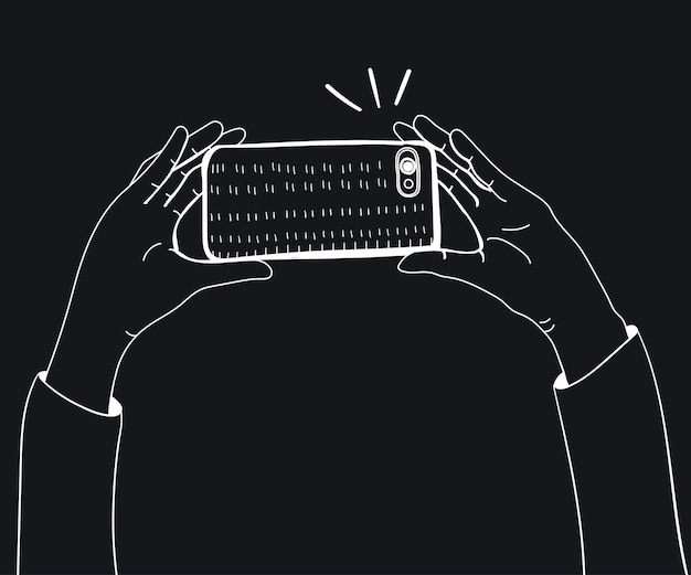 스마트 폰으로 사진을 복용하는 손의 벡터