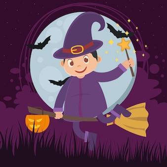 Вектор детской ведьмы с фиолетовой одеждой