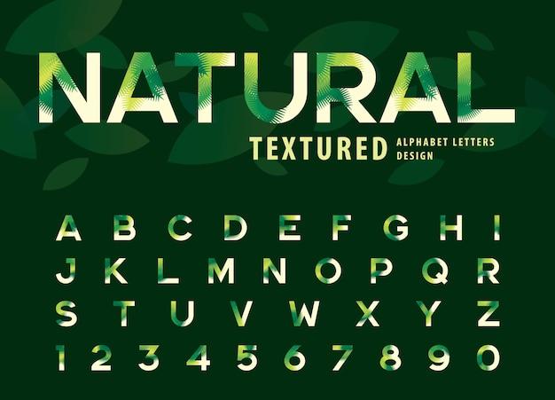 葉のテクスチャアルファベット文字、緑のヤシの葉の手紙のベクトル