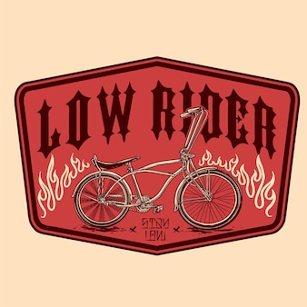 낮은 라이더 자전거 빈티지 배지 디자인의 벡터