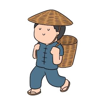 Вектор человека и плетеной корзине