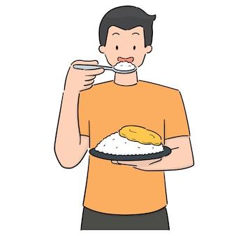 食べる人のベクトル