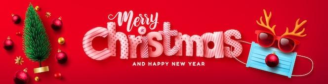 メリークリスマス&新年あけましておめでとうございますポスターまたはクリスマスツリーと医療マスクからトナカイのシンボルとバナーのベクトル
