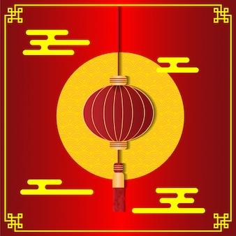 中国の旧正月のための赤い中国のランタンのベクトル