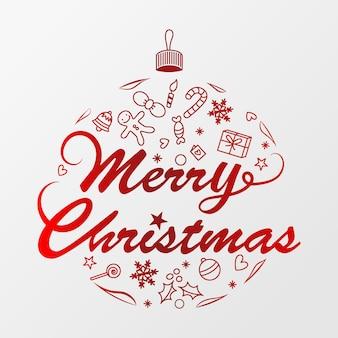 赤いクリスマスボール、メリークリスマスの活版印刷のポスターのベクトル。 eps10ベクトル。