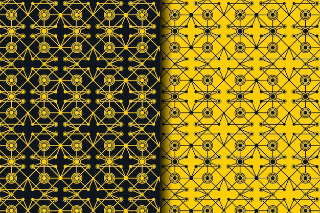 Вектор бесшовные модели. сеть ярких связанных точек и линий. абстрактная динамическая волна из многих точек. подробные линии, образующие абстрактный фон. сочетание желтого и черного цветов.
