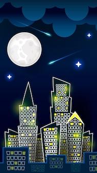 Вектор силуэт ночного городского пейзажа на фоне темно-синего неба с большой луной. художественный дизайн для интернета, сайта, рекламы, баннера, плаката, флаера, брошюры, доски, открытки, бумажной печати.