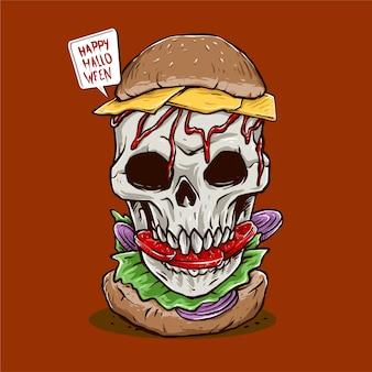 ハロウィーンイベントポスターイラストの頭蓋骨ハンバーガーのベクトル