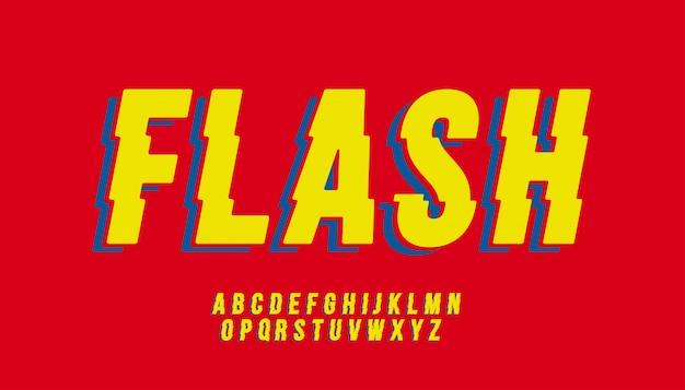 Вектор стилизованный флэш-шрифт и алфавит