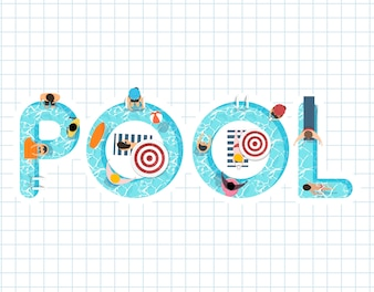 Vector of summer feel design with the word Pool