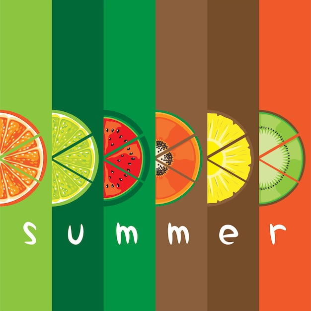 色のバーの背景に夏のフルーツスライスのベクトル