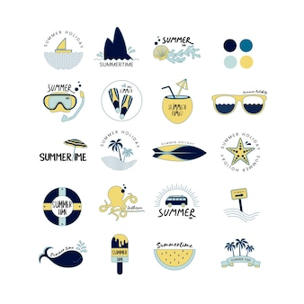 Vector of summer icons set