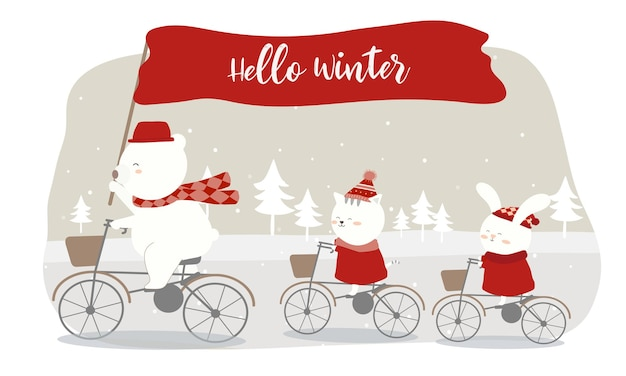 Вектор прошлой зимы с медведем, кошкой и кроликом на велосипеде.