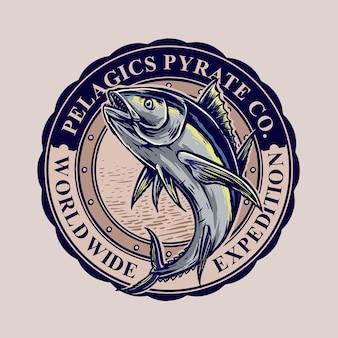Вектор дизайн ретро значок тунца