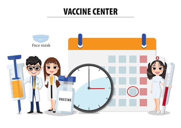 Вектор концепции вакцинации с медицинскими плоскими иконами. врач, медсестра, вакцина, вирус, шприц, дезинфицирующее средство, инъекции на белом фоне