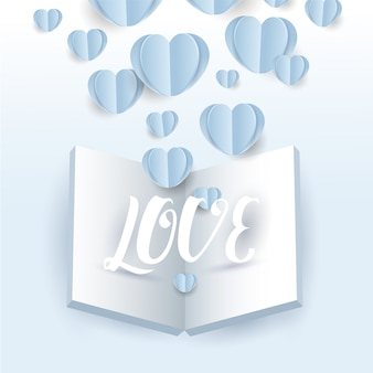グリーティングカードの青い背景に開いた本と愛の手紙と飛んでバレンタインハート紙のベクトル